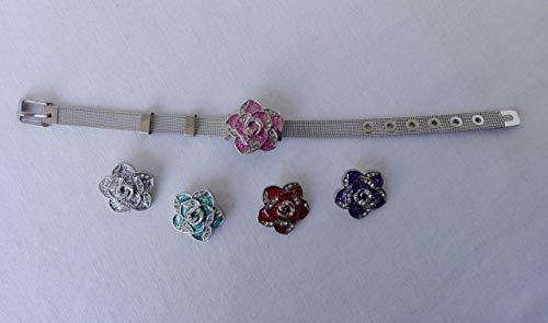 Armband mit 5 Strass Blüten zum Wechseln, Edelstahl Schmuck
