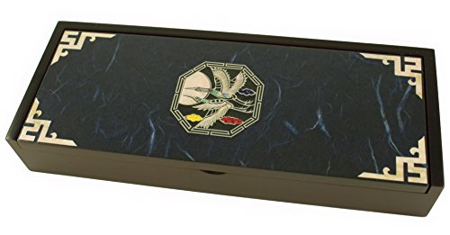 Boîte à bijoux en bois avec Mère de Pearl incrusté, grues Volant Bleu marine