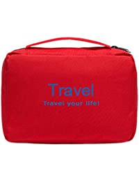 Italish Portable Toiletry Travel Pouch Zipper Storage Hanging Bag Pouch-Red