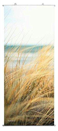 Textilbanner für Schaufenster - Thema: Sommer - Strand / Düne im Wind / Meer unter blauem Himmel - 180cmx75cm - Inklusive Bannerstäbe & Aufhänger - Banner zum Hängen & Dekorieren