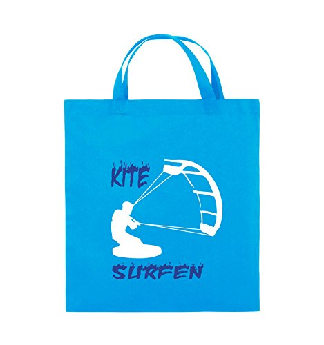 Comedy Bags - Kite Surfen - MOTIV 3 - Jutebeutel - kurze Henkel - 38x42cm - Farbe: Schwarz / Weiss-Neongrün Hellblau / Weiss-Royalblau