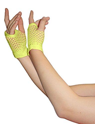 Erwachsene kurze und lange Fingerlose Fisnet Handschuhe Raves Parties 1980s Fancy Dress - Pick & Mix (Gelb - klein)