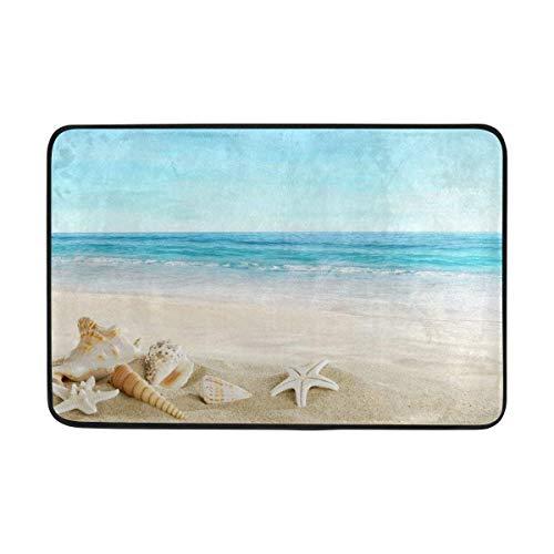 Klotr Fußabtreter, Beach Sand Shell Tropical Anti-Slip Mat Indoor/Outdoor Washable Garden Office Door Mat,Rug Doormat 23.6x15.7 Inch Home Decor -