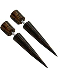 2 Finto Dilatador Estensor falso piercing oreja fakeplug túnel plug orgáncia madera cuerno hueso ...
