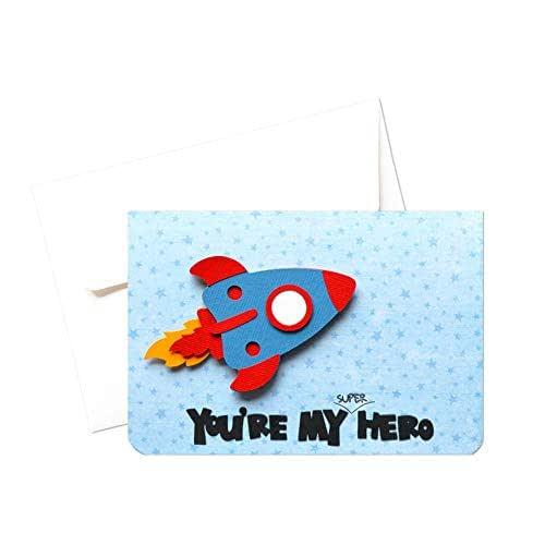My super hero - festa del papà - biglietto d'auguri (formato 10,5 x 15 cm) - vuoto all'interno, ideale per il tuo messaggio personale - realizzato interamente a mano.