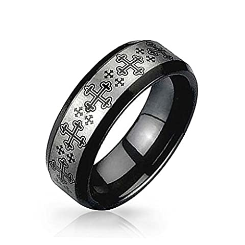 Bling Jewelry Croix médiévale noir et anneau de tungstène 8 mm avec une gravure gratuite en plaqué
