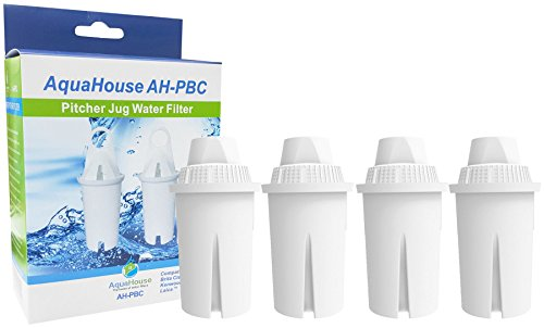 Aquahouse - cartucce filtranti per acqua ah-pbc, compatibili con brita classic, kenwood, boots e tutte le brocche per acqua standard, confezione da 4