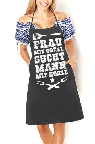 Artdiktat Grill Schürze - Frau mit Grill sucht Mann mit Kohle - Schürze, Grillschürze, Kochschürze, Latzschürze, schwarz (Männer Für Sucht)