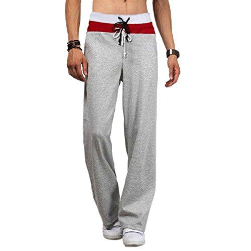 Minetom Désinvolte Occasionnel-Mélange De Coton Shorts De Sport-Pantalon De Danse-Confort Hommes Casual Sweatpants Drawstring Danse Pantalon Hiphop Baggy Sport Jogging Sarouel Pants Gris