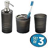 mDesign edles 3er-Set Badaccessoires – Bad-Accessoires-Set, bestehend aus Seifenspender, Zahnbürstenhalter und Zahnputzbecher – dreiteiliges Badezimmer Set aus Kunststoff – mattschwarz