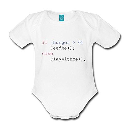 Spreadshirt Javascript Füttern Spielen Feed Me Play with Me Baby Bio-Kurzarm-Body, 62 (2-3 M.), Weiß
