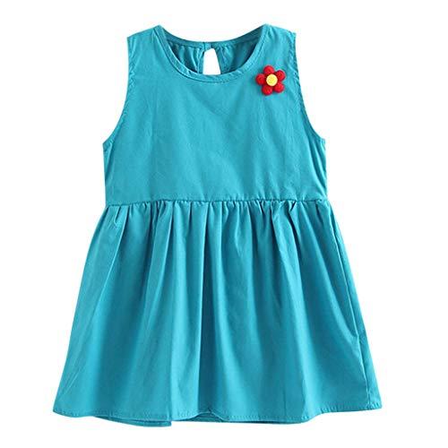 CUTUDE Kleinkind Baby Mädchen Kleid Einfarbig Blume Ärmellos Kleider Beiläufig Sommerkleid Tutu Urlaub Prinzessin Outfit Kleidung