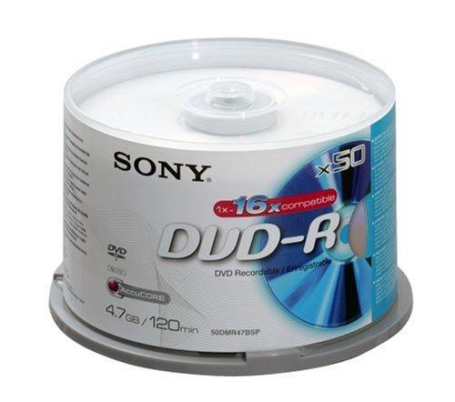 Sony - dvd-r (recordable), 16x, confezione da 50 con 120 minuti per dvd