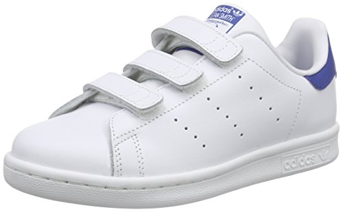 adidas Stan Smith, Baskets Basses Mixte Enfant, Blanc (Ftwr White/Ftwr White/Eqt Blue S16), 35 EU