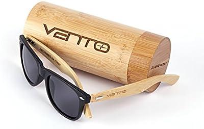 Vento Eyewear® modelo Chinook Dark&Grey - Gafas de sol de madera de bambú, diseñadas en Italia con certificados CE y protección UV400, Marco oscuro lentes gris de policarbonato
