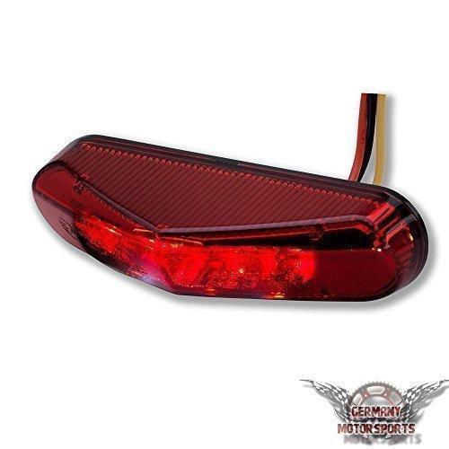 LED Universal Motorrad Rücklicht Schwarz Rotes Glas Roller Quad ATV Rückleuchte Bremsleuchte