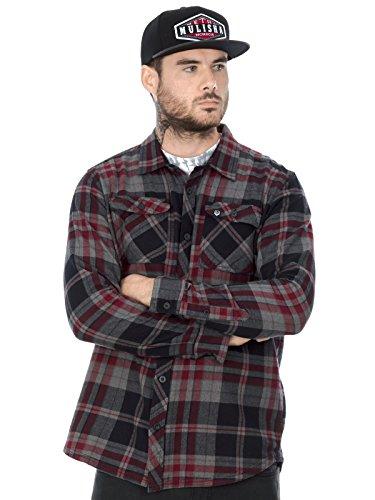 Metal Mulisha Langarm Shirt Roadblock Flannel Burgundy Rot