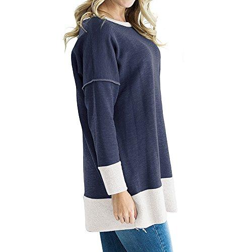 Dihope Femme Printemps Été Top à Manches Longues Col Rond Patchwork Couleur Tee-shirt Casual Haut Top Loisir Mode Bleu foncé