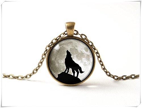 Beautiful Dandelion Schöne Löwenzahn Halskette Wolf Grau Moon Glas Anhänger Halskette