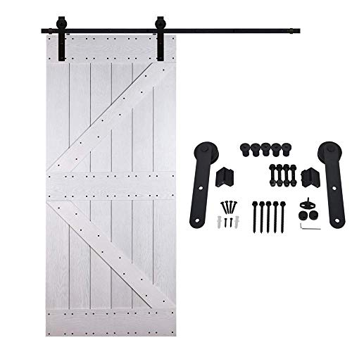 6.6Ft Barn Door Sliding Hängeschiene, Push-Pull Single Holztür Carbon Steel Silent Track Pulley, Hardware Kleiderschrank Set