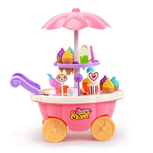 Küchenspielzeug Kinderspielhaus Spielzeug Eiscreme Süßigkeiten Auto Spielzeug Mädchen Schieben Eiswagen Simulation Küche Sets 3-7 Jahre Alte Interaktive Lernspielzeug