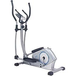 ISE Vélo elliptique magnétique Vélo d'appartement ergomètre Crosstrainer - Masse d'inertie 12kg - 8 Niveaux de Résistance (Light Grey) SY-9608