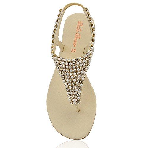 Essex Glam - Damen Zehensteg Sandalen Flip Flops Mit Strasssteine Hautfarben