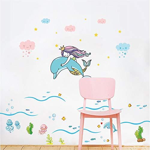 JEAQW home stickers muraux mural art decor amovible étanche petite histoire de sirène histoire mur-enfants décoration de la chambre autocollants imperméable salle de bains mur affiches mignon dessin a