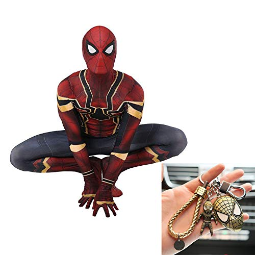 Kostüm Iron Mann Machen Zu - Iron Spiderman Cosplay Stretch Strumpfhose Kostüm Für Erwachsene Halloween Siamese Christmas Party Dress + Spiderman Keychain Set,Red-L
