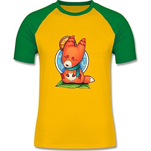 Eulen, Füchse & Co. - Süßer Fuchs - Kitsune - zweifarbiges Baseballshirt  für Männer