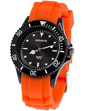 Andante Sportliche Wasserdichte Unisex Armbanduhr Silikon Uhr Quarz 3ATM ORANGE SCHWARZ AS-5006