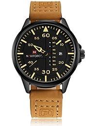 Naviforce - Reloj de Pulsera Militar de Piel de Cuarzo para Hombre
