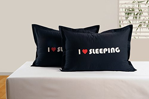 Swayam I Love Sleeping Graffiti Black Pillow Cover set of 2
