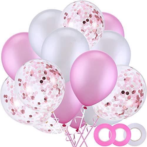 50 Piezas 12 Pulgadas de Globos de Látex Globos de Confeti con 3 Rollos de Cinta para Materiales de Fiesta de Boda Cumpleaños (Blanco, Rosa)