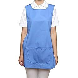 Delantal con bolsillo para limpieza, catering, enfermería u hotel azul Azul Del Hospital XX-Large