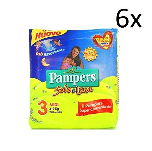 6x Pampers sole e luna Gr.3 20 Windeln 4-9 kg kinder baby diapers Packung
