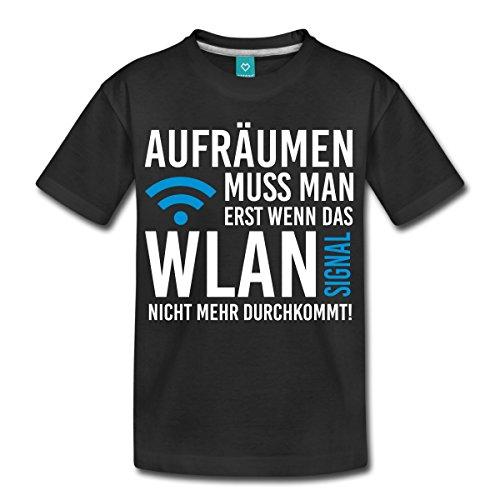 Spreadshirt Aufräumen muss Man Erst Wenn Das WLAN Signal Nicht Mehr Durchkommt Teenager Premium T-Shirt, 158/164 (12 Jahre), Schwarz (T-shirts Lustige Junge,)