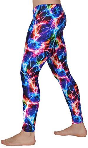 orful Meggings Herren Leggings, USA hergestellt, Spaß für Baselayer, Yoga oder Burning Man Rainbow - Mehrfarbig - (48 DE) Medium ()