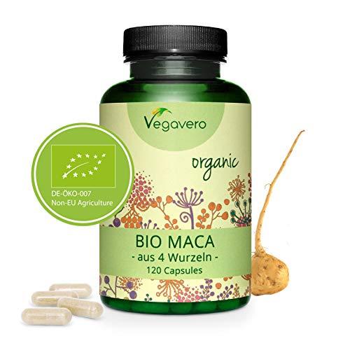 BIO Maca de Perú Vegavero® | LA ÚNICA CON LAS 4 RAÍCES | Testada en Laboratorio | 120 Cápsulas | Estimulante Natural + Energía + Fertilidad + Estrés | Apta Para Veganos