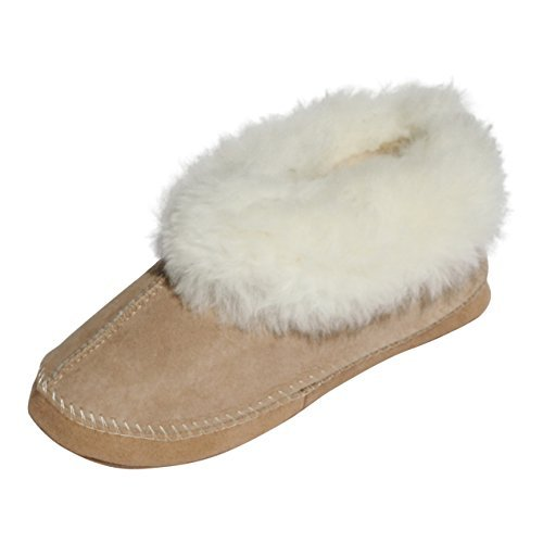 der-Fellmann Damen Lammfell Mokassin Espaniol Beige/Weiß Schuhgröße EUR 36