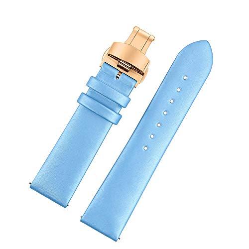 WMING Home 16mm Baby Blau gesponnene Seidenuhrenarmbänder Deluxe Armbandersatzteile Halbmattes, flaches Design Roségold-Faltschließe - Watch Band Timex 16mm