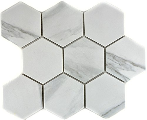 Mosaik Fliese Keramik weiß Hexagon Carrara für WAND BAD WC DUSCHE KÜCHE FLIESENSPIEGEL THEKENVERKLEIDUNG BADEWANNENVERKLEIDUNG Mosaikmatte Mosaikplatte