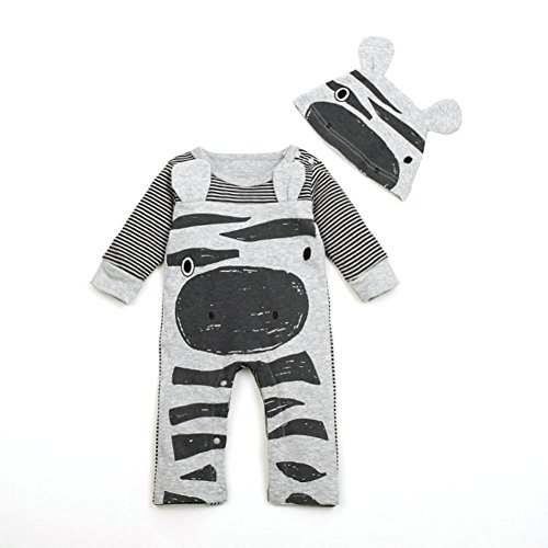 Culater® Newborn Infant Baby Boys Girls Cartoon Romper+Hat Jumpsuit Bodysuit Outfit (70, Grigio)