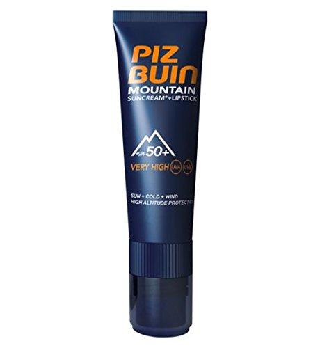 Piz Buin Gamme Montagne Tube Combi de Crème de Protection Solaire IP50 20 ml + Stick à Lèvres IP30 2,3 ml