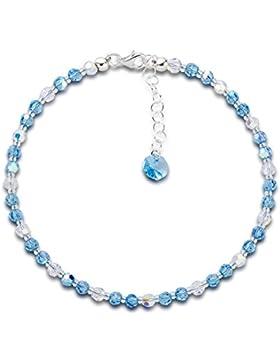 Schöner-SD, Fußkette aus Swarovski® Kristall Perlen in Aquamarin blau und Crystal AB, 925 Silber