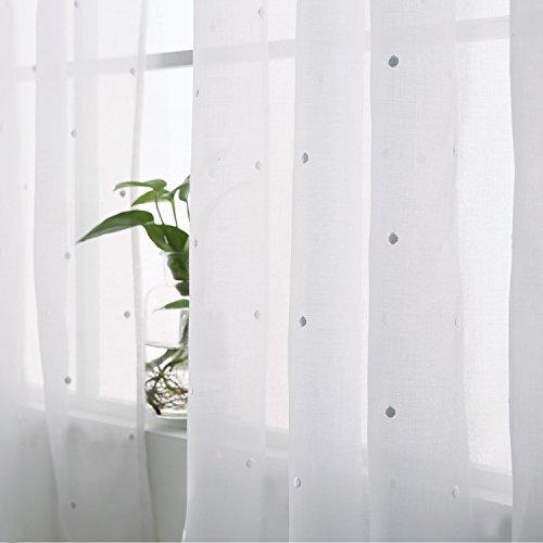 Kinderzimmer Gardinenstange Weiße (Deconovo Ösenvorhang Transparent Gardinen Wohnzimmer Vorhang Stickerei 175x140 cm Weiß Punkt)