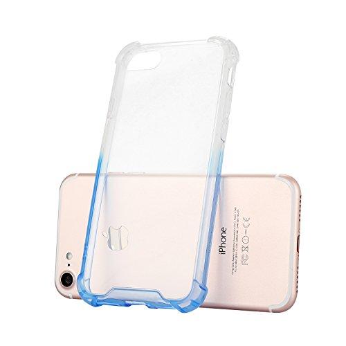 iPhone 7 / 8 Plus Coque Case , Mode [Crystal Clear] Transparent Ultra-mince Soft Poids Léger Silicone Doux TPU Étanche Aux Chocs Housse Gel Etui Case Cover pour Apple iPhone 7 / 8 Plus (Violet) Bleu clair