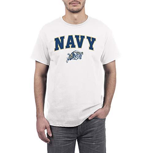 eLITe Fan Navy Midshipmen Men's Short Sleeve Arch Tee, White, Large -