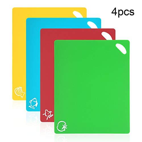 Vicloon Tablas de Cortar de Plástico, Juego de 4 Tablas de Cocina de Flexible con Color Diferente, Iconos de Alimentos y Manijas, Alimento Tablas de Cortar Antideslizante para Lavavajillas