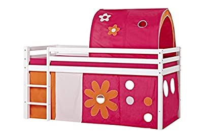 Hoppekids for high, halfhigh, Play, Cabin Bed, mid Sleeper, Width 90 cm, Fabric, Pink, 90x73x102 cm